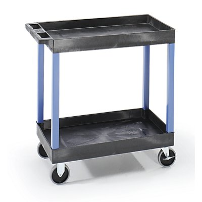Mehrzweckwagen MULTI - LxBxH 895 x 460 x 895 mm, 2 Etagen, 2 Wannen, schwarz / blau