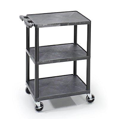 Kunststoff-Vielzweckwagen - LxBxH 610 x 460 x 840 mm, 3 Etagen - schwarz