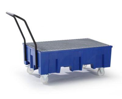 PE-Auffangwanne, LxB 1245 x 865 mm - Höhe 1060 mm, fahrbar
