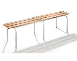 Garderobenbank, stapelbar - Massivholzleisten klarlackiert, Länge 1600 mm - Gestell hellgrau