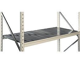 Fachboden-Stahlauflage verzinkt - Tiefe 600 mm - für Trägerlänge 1500 mm, Set