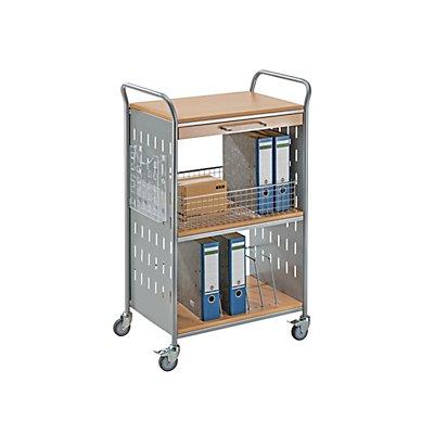 Eurokraft Bürowagen - mit 1 Schublade und 3 Etagen - Bürowagen