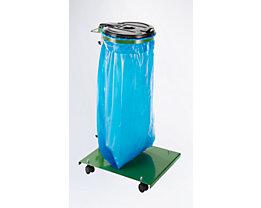 Abfallsackhalter für 120-l-Sack - mit Bodenplatte, fahrbar, Deckel schwarz