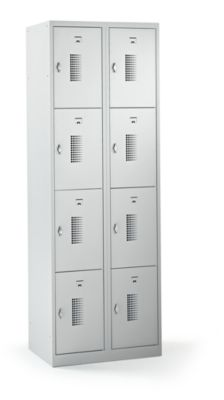 QUIPO Schließfachschrank mit Drehriegel für Vorhängeschloss, 8 Fächer - HxBxT 1800 x 600 x 500 mm