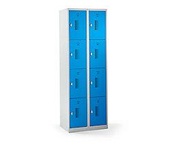 QUIPO Schließfachschrank mit Drehriegel für Vorhängeschloss, 8 Fächer - HxBxT 1800 x 600 x 500 mm, Korpusfarbe lichtgrau
