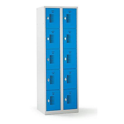 QUIPO Schließfachschrank mit Drehriegel für Vorhängeschloss, 10 Fächer - HxBxT 1800 x 600 x 500 mm