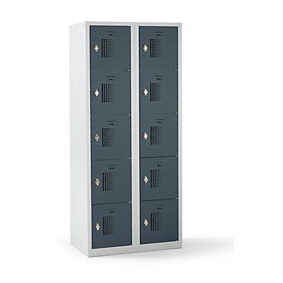 QUIPO Schließfachschrank mit Drehriegel für Vorhängeschloss, 10 Fächer - HxBxT 1800 x 800 x 500 mm