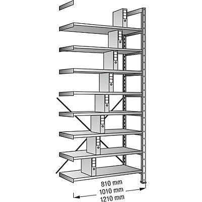 Ordner- und Archiv-Steckregal, verzinkt - Höhe 3000 mm, einseitig