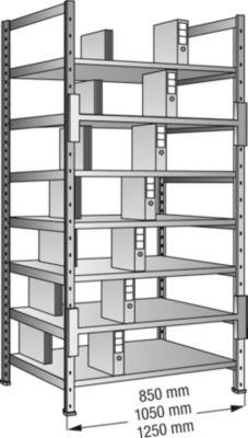 Ordner- und Archiv-Steckregal, verzinkt - Höhe 2640 mm, doppelseitig