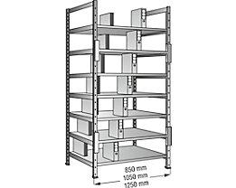 Ordner- und Archiv-Steckregal, verzinkt - Höhe 2640 mm, doppelseitig - Boden-BxT 800 x 600 mm, Grundfeld