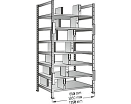 Ordner- und Archiv-Steckregal, verzinkt - Höhe 2640 mm, doppelseitig - Boden-BxT 800 x 600 mm, Anbaufeld