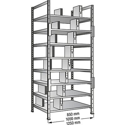 Scholz Ordner- und Archiv-Steckregal, verzinkt - Höhe 3000 mm, doppelseitig
