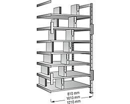Ordner- und Archiv-Steckregal, verzinkt - Höhe 2640 mm, doppelseitig - Boden-BxT 1200 x 600 mm, Anbaufeld