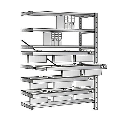 Rayonnage emboîtable pour dossiers suspendus - hauteur 2280 mm, châssis à 3 rangées