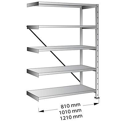 Scholz Cleana-Steckregal, Regalhöhe 1920 mm, 5 Böden - Anbauregal, Bodenbreite 800 mm