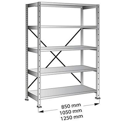 Scholz Cleana-Steckregal, Regalhöhe 1920 mm, 5 Böden - Grundregal, Bodenbreite 1000 mm