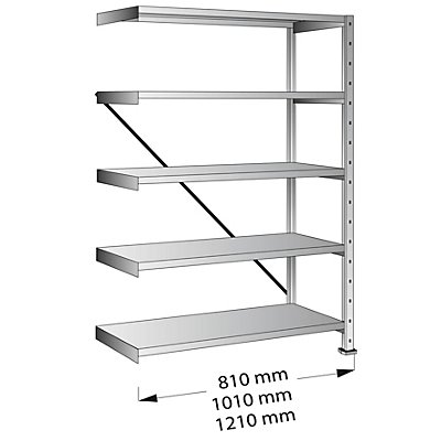 Scholz Cleana-Steckregal, Regalhöhe 1920 mm, 5 Böden - Anbauregal, Bodenbreite 1000 mm