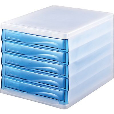 helit Schubladenbox - Gehäusefarbe Weiß, transparent, VE 4 Stk