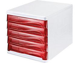 helit Schubladenbox - Gehäusefarbe Weiß, VE 4 Stk, transparent