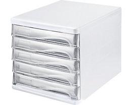helit Schubladenbox - Gehäusefarbe Weiß, VE 4 Stk, Schubladenfarbe glasklar