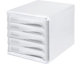 helit Schubladenbox - Gehäusefarbe Weiß, VE 4 Stk, Schubladenfarbe Lichtgrau