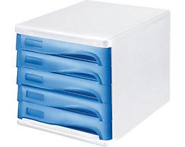 helit Schubladenbox - Gehäusefarbe Weiß, VE 4 Stk, Schubladenfarbe Blau