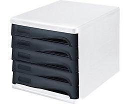 helit Schubladenbox - Gehäusefarbe Weiß, VE 4 Stk, Schubladenfarbe Schwarz