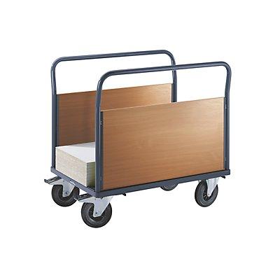 EUROKRAFT ACTIVE GREEN Plattformwagen mit Holzwänden - mit 2 hohen Längswänden, Vollgummireifen