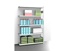 EUROKRAFT AntiBak®-Steckregal, antibakteriell - Regalhöhe 2000 mm, Anbauregal - Fachbodenbreite 1300 mm, Fachbodentiefe 400 mm