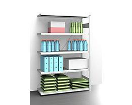 EUROKRAFT AntiBak®-Steckregal, antibakteriell - Regalhöhe 2000 mm, Anbauregal - Fachbodenbreite 1300 mm, Fachbodentiefe 500 mm