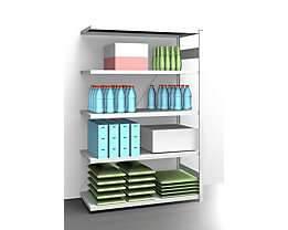 EUROKRAFT AntiBak®-Steckregal, antibakteriell - Regalhöhe 2000 mm, Anbauregal - Fachbodenbreite 1300 mm, Fachbodentiefe 600 mm