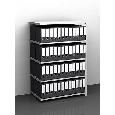 Akten-Schraubregal, lichtgrau RAL 7035 - Regalhöhe 1500 mm, doppelseitig