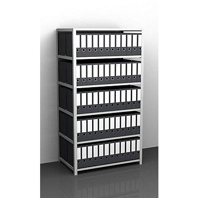 Akten-Schraubregal, lichtgrau RAL 7035 - Regalhöhe 1850 mm, doppelseitig - Grundregal, Breite x Tiefe 750 x 600 mm