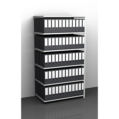 Akten-Schraubregal, lichtgrau RAL 7035 - Regalhöhe 1850 mm, doppelseitig