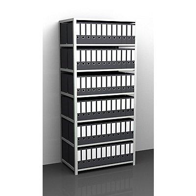 Akten-Schraubregal, lichtgrau RAL 7035 - Regalhöhe 2200 mm, doppelseitig