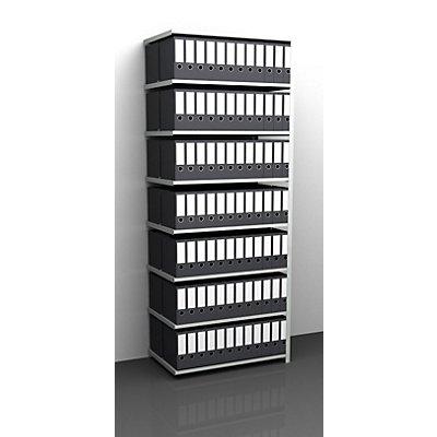 Akten-Schraubregal, lichtgrau RAL 7035 - Regalhöhe 2550 mm, doppelseitig