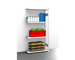 EUROKRAFT Hygiene-Steckregal - Regalhöhe 2000 mm, 4 Fachböden - BxT 975 x 485 mm, Anbauregal