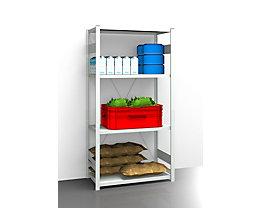 EUROKRAFT Hygiene-Steckregal - Regalhöhe 2000 mm, 4 Fachböden - BxT 1025 x 585 mm, Grundregal