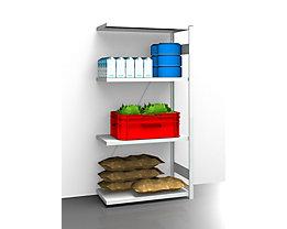 EUROKRAFT Hygiene-Steckregal - Regalhöhe 2000 mm, 4 Fachböden - BxT 975 x 585 mm, Anbauregal