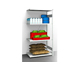 EUROKRAFT Hygiene-Steckregal - Regalhöhe 2000 mm, 4 Fachböden - BxT 975 x 685 mm, Anbauregal