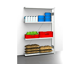 EUROKRAFT Hygiene-Steckregal - Regalhöhe 2000 mm, 4 Fachböden - BxT 1225 x 385 mm, Anbauregal