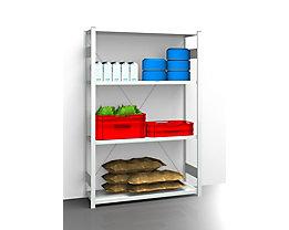EUROKRAFT Hygiene-Steckregal - Regalhöhe 2000 mm, 4 Fachböden - BxT 1275 x 485 mm, Grundregal
