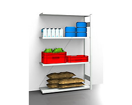EUROKRAFT Hygiene-Steckregal - Regalhöhe 2000 mm, 4 Fachböden - BxT 1225 x 485 mm, Anbauregal