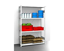 EUROKRAFT Hygiene-Steckregal - Regalhöhe 2000 mm, 4 Fachböden - BxT 1275 x 585 mm, Grundregal