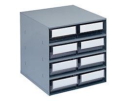 Schubladenmagazin, Gehäuse-Traglast 75 kg - HxBxT 395 x 380 x 300 mm, 8 Schubladen - Schubladen glasklar