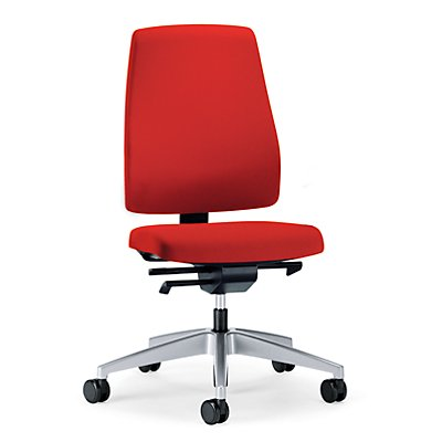 interstuhl Bürodrehstuhl GOAL, Rückenlehnenhöhe 530 mm - Gestell brillantsilber, mit harten Rollen