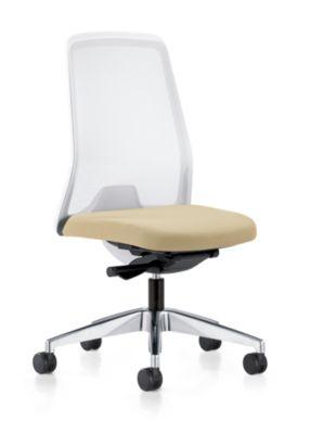 interstuhl Operator-Drehstuhl EVERY, Netz-Rückenlehne weiß - Gestell poliert, mit weichen Rollen