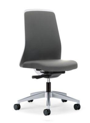 interstuhl Operator-Drehstuhl EVERY, Chillback-Rückenlehne weiß - Gestell brillantsilber, mit weichen Rollen
