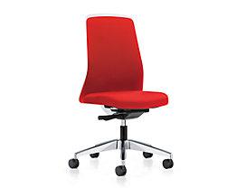 interstuhl Operator-Drehstuhl EVERY, Chillback-Rückenlehne weiß - Gestell poliert, mit harten Rollen, Sitztiefe 410 - 470 mm
