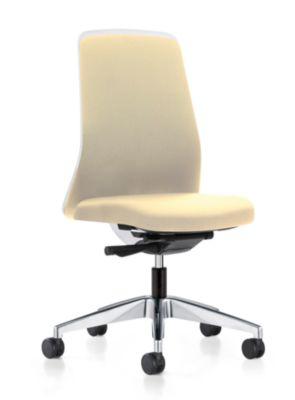 interstuhl Operator-Drehstuhl EVERY, Chillback-Rückenlehne weiß - Gestell poliert, mit harten Rollen